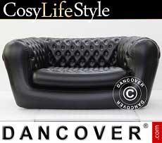 Sofá hinchable estilo Chesterfield, 2 asientos, Negro