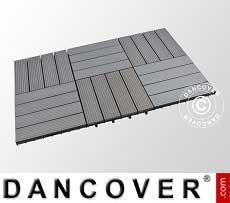 Baldosas para el suelo de WPC, 0,3x0,3m, color gris oscuro (6 piezas/caja)