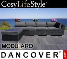 Sofá lounge de poliratán II, 5 módulos, Modularo, Negro