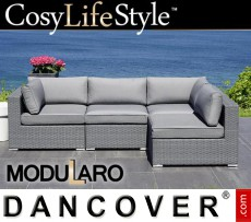 Sofá lounge de poliratán, 4 módulos, Modularo, Gris