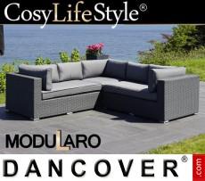 Sofá lounge de poliratán, 3 módulos, Modularo, Gris