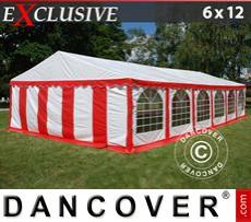 Carpa para fiestas Exclusive 6x12m de PVC, Rojo/Blanco
