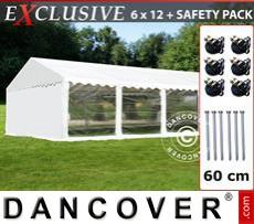 Carpa para fiestas Exclusive 6x12m PVC, Blanco, Panorama