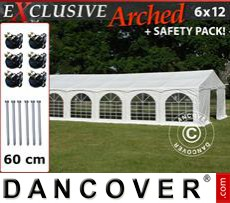 """Carpa para fiestas Exclusive 6x12mPVC, """"Arched"""", Blanco"""
