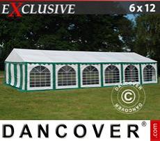 Carpa para fiestas Exclusive 6x12m PVC, Verde/Blanco