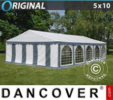 Carpa para fiestas Original 5x10m PVC, Gris/Blanco