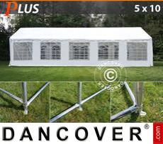Carpa para fiestas PLUS 5x10m PE, Blanco + Armazón de fundamento