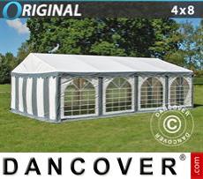 Carpa para fiestas Original 4x8m PVC, Gris/Blanco
