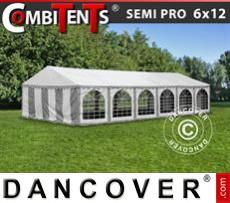 Carpa para fiestas, SEMI PRO Plus CombiTents® 6x12m 4 en 1, Blanco/Gris