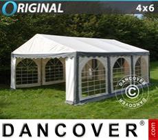 Carpa para fiestas Original 4x6m PVC, Gris/Blanco