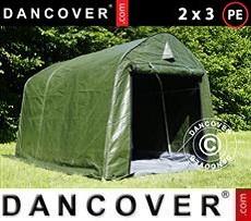 Carpa de almacenamiento PRO 2x3x2m PE, con cubierta de terreno, Verde/Gris