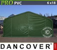 Carpa grande de almacén PRO 6x18x3,7m PVC, Verde