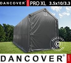 Carpa grande de almacén PRO XL 3,5x10x3,3x3,94m, PVC, Gris