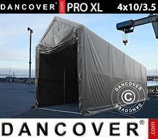 Carpa grande de almacén PRO XL 4x10x3,5x4,59m, PVC, Gris