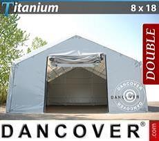 Carpa de almacén grande Titanium 8x18x3x5m, Blanco / Gris