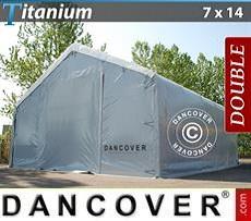 Carpa de almacén grande Titanium 7x14x2,5x4,2m, Blanco / Gris