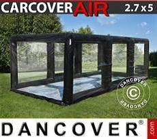 Garaje hinchable 2,7x5m, PVC, Negro/Transparente con turbina