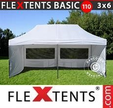 Carpa plegable FleXtents Basic 110, 3x6m Blanco, Incl. 6 lados