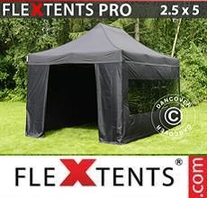 Carpa plegable FleXtents PRO 2,5x5m Negro, incl. 6 lados