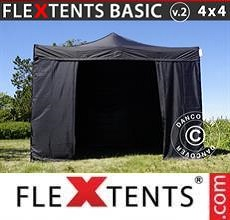 Carpa plegable FleXtents Basic v.2, 4x4m Negro, Incl. 4 lados