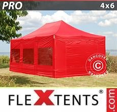 Carpa plegable FleXtents 4x6m Rojo, Incl. 8 lados