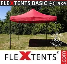 Carpa plegable FleXtents Basic v.2, 4x4m Rojo