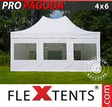 Carpa plegable FleXtents PRO Peak Pagoda 4x6m Blanco, incluye 8 muros