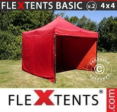 Carpa plegable FleXtents Basic v.2, 4x4m Rojo, Incl. 4 lados