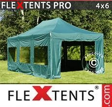 Carpa plegable FleXtents PRO 4x6m Verde, Incl. 8 lados