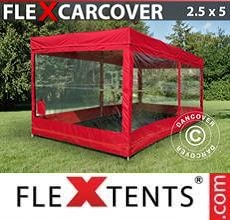 Carpa plegable FleXtents Carcover, 2,5x5m, Rojo