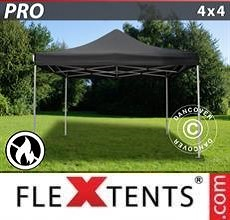 Carpa plegable FleXtents PRO 4x4m Negro, Ignífuga