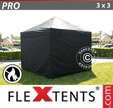 Carpa plegable FleXtents PRO 3x3m Negro, Ignífuga, incl. 4 lados