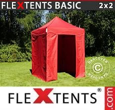 Carpa plegable FleXtents Basic v.2, 2x2m Rojo, Incl. 4 lados