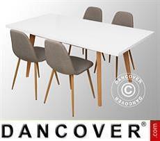 Juego de comedor con 1 mesa de comedor Roma, Blanco/Roble + 4 sillas