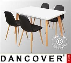 Juego de comedor con 1 mesa de comedor Roma, Blanco/Roble 4 sillas de