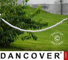 Cuerda trenzada para barreras de cuerda, 150cm, Blanco y gancho