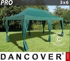 Carpa para Fiestas  PRO 3x6m Verde, incluye 6 cortinas decorativas