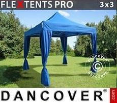 Carpa para fiestas PRO 3x3m Azul, incluye 4 cortinas decorativas