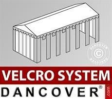 Cubierta para tejado con velcro para carpa Exclusive de 5x12m, Blanco/Gris