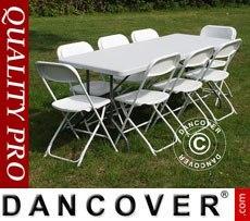 Conjunto para fiesta, 1 mesa plegable (182cm) + 8 sillas, Gris claro/Blanco