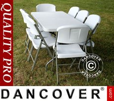 Conjunto para fiesta, 1 mesa plegable (242cm) + 8 sillas & 8 cojines para el...