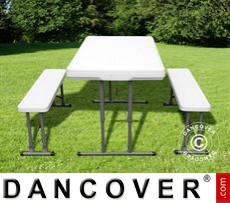 Mesa de camping (113cm) + 2 bancos (95cm)