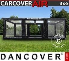 Garaje hinchable 3x6m, PVC, Negro/Transparente con turbina sopladora