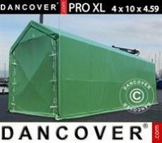 Carpa grande de almacén PRO XL 4x10x3,5x4,59m, PVC, Verde