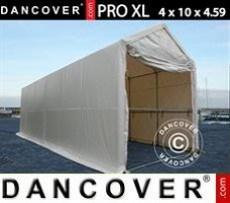 Carpa grande de almacén PRO XL 4x10x3,5x4,59m, PVC, Blanco
