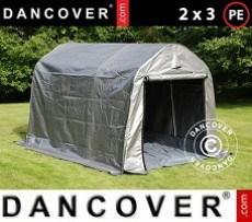 Carpa de almacenamiento PRO 2x3x2m PE, con cubierta de terreno, Gris