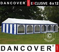 Carpa para fiestas 6x12m PVC, Azul/Blanco