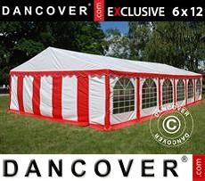 Carpa para fiestas 6x12m de PVC, Rojo/Blanco