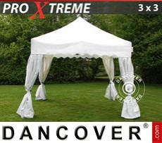 Carpa para fiestas 3x3m Blanco, incl. 4 cortinas...