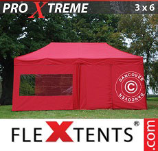 Carpa plegable FleXtents 3x6m Rojo, Incl. 6 lados